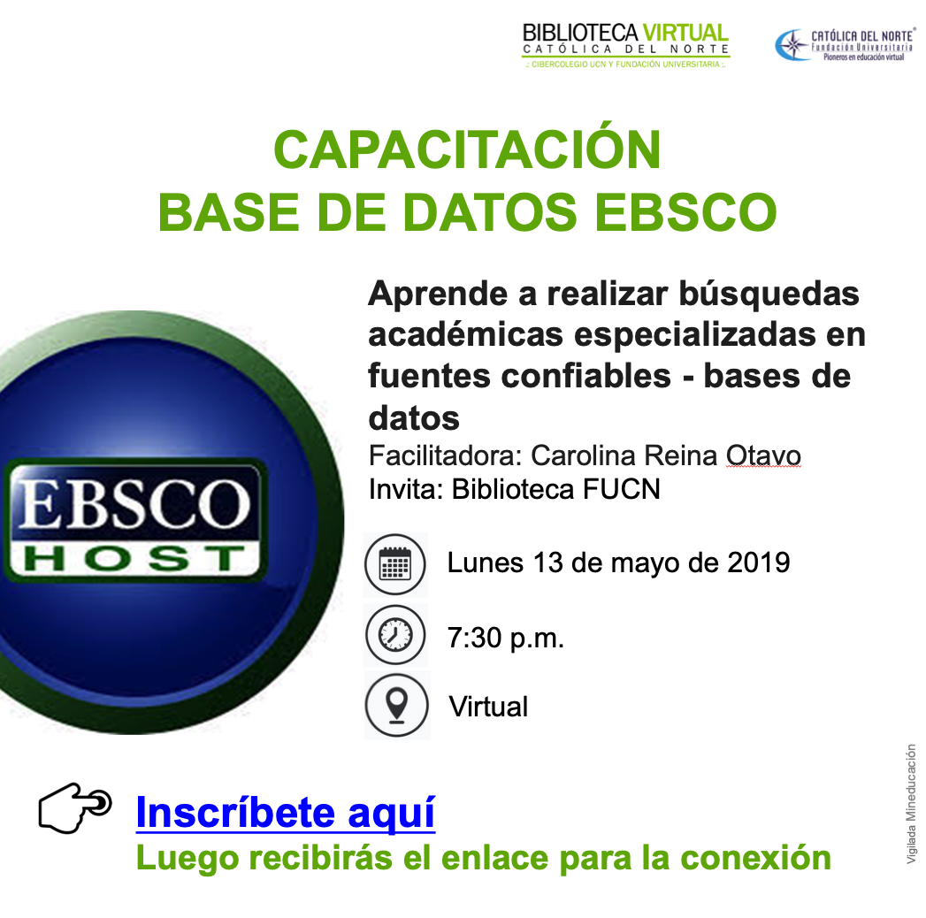 Invitación Capacitación base de datos EBSCO.